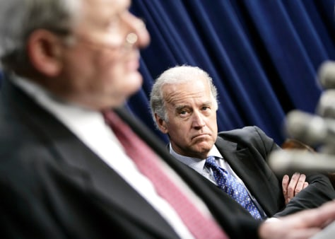 Joseph Biden Jr. ,D-DE, listens as Senat