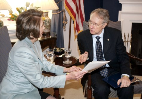 IMAGE: Pelosi, Reid work on Democratic response
