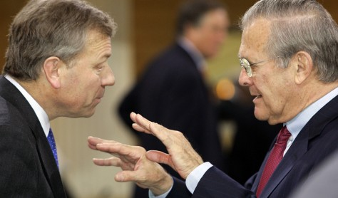 Image: NATO Secretary-General de Hoop Scheffer, left, and U.S. Defense Secretary Rumsfeld.