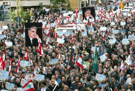 Image: Rafik Hariri's funeral procession.