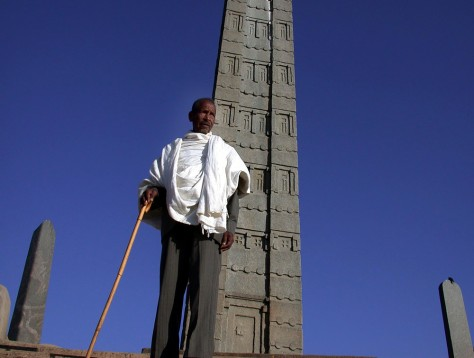witness stands by surviving obelisk