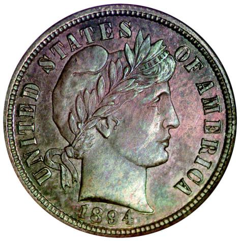 Image: 1894 rare U.S. dime.