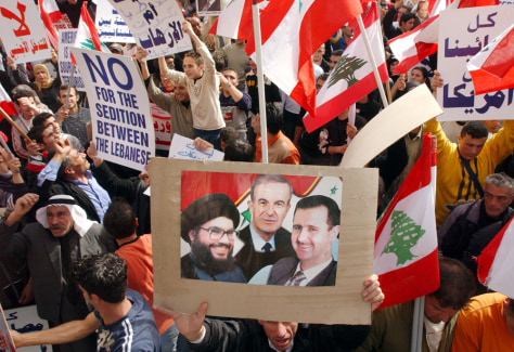 Lebanese Pro-Syrian Supporters Demonstrate In Beirut
