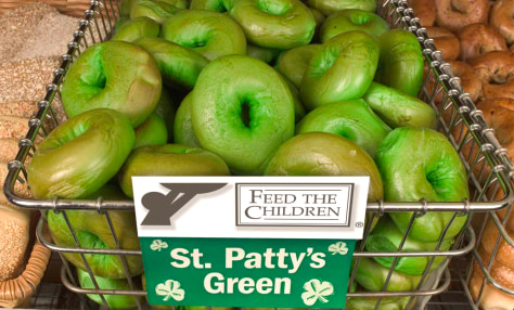 2ND ANNUAL GREEN BAGEL FUNDRAISER; BRUEGGER'S TO RAISE A LIL' DOUGH FOR FEED THE CHILDREN