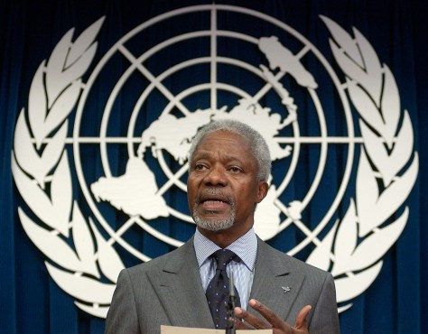 UN Secretary General Kofi Annan discusses the latest report on the UN oil-for-food scandal at a press conference in New York