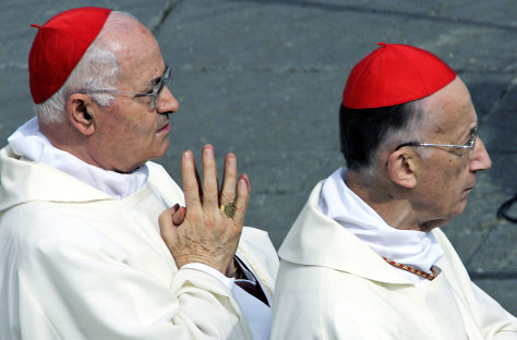 Italian Cardinals Salvatore de Giorgi and Camillo Ruini arrive to attend a solemn mass for the death of the Pope in Saint Peter's Square at the Vatican in Saint Peter's Square at the Vatican