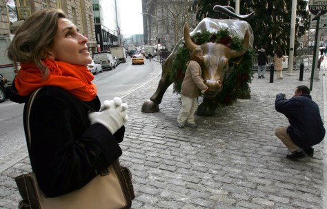 "New York Wall Street ""Charging Bull"" bronze staue which is up for sale"