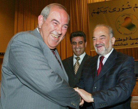 Allawi greets Jaafari at Iraq's National Assembly