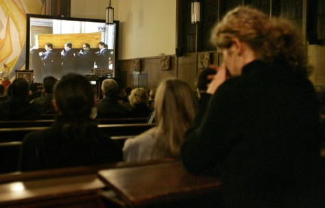 Image: Congregants in a Los Angeles church gather to watch pope's funeral
