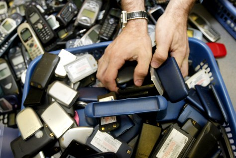 DISCARDED CELL PHONES, BATTERIES