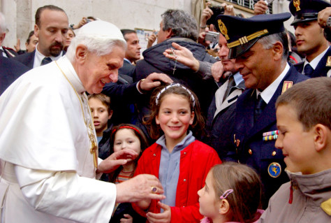 Pope Benedict XVI greets crowd outside his residence in the Vatican