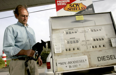 MAN FILLS CAR WITH BIODIESEL