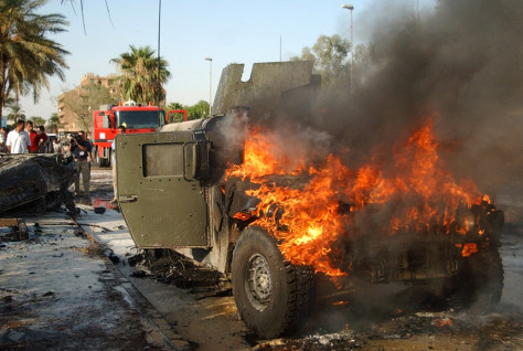Humvee burns in Iraq