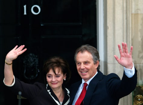 Image: Britain's Prime Minister Tony Blair with his wife Cherie.