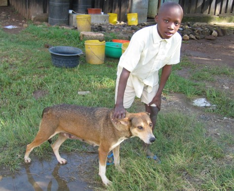 OMONDI WITH DOG