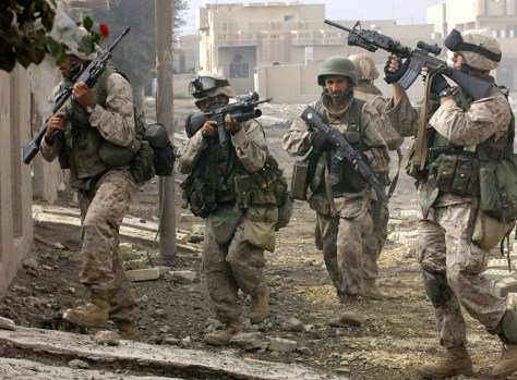 US marines patrol the restive city of Fa