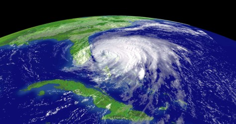 NOAA satellite image of hurricane Frances as it approaches the east coast of Florida