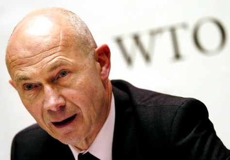 Pascal Lamy of France speaks during a news conference after making his presentation to the WTO's governing general council in Geneva