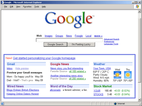 screenshot of sample Google personalized home page