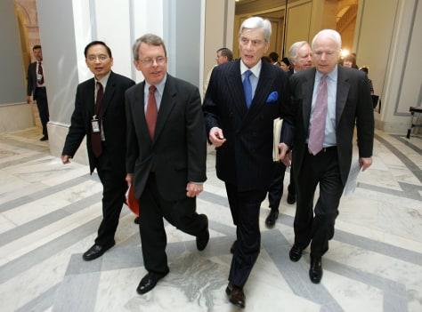 Sen. Mike DeWine, R.-Ohio,Sen. John Warner, R-Va., center, and Sen. John McCain, R-Ariz.