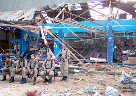 Image: Site of bomb blasts in Indonesia.