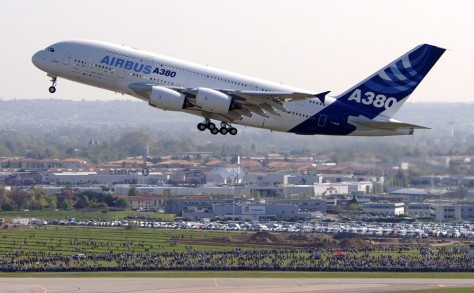 File photo of the the first superjumbo Airbus A380 during runway tests at the Toulouse-Blagnac airport in southwestern France