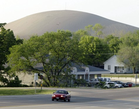 IMAGE: HUGE MOUND NEXT TO TOWN