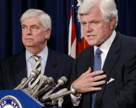 US Senator Dodd and Kennedy hold news conference in Washington DC