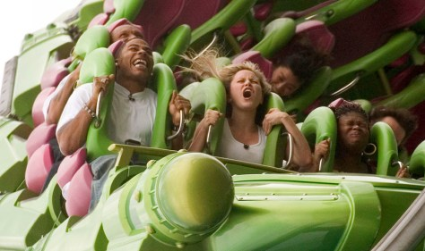 Hip-hop singer Nelly rides the Hulk at Universal Orlando