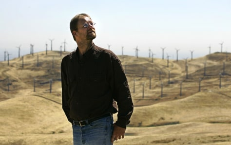 IMAGE: ACTIVIST AT WINDFARMS IN ALTAMONT