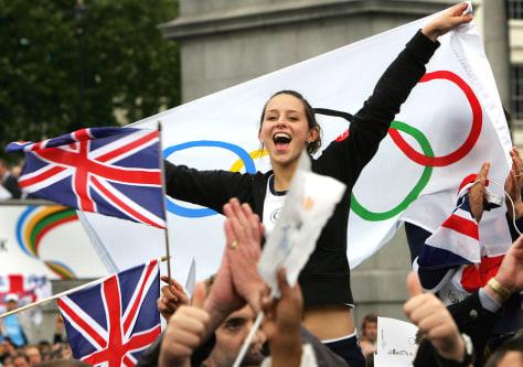 British girl celebrates