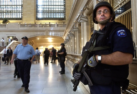 A member of the New York Police Department's Emergency Services Unit patrols in New York
