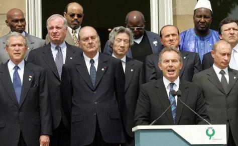 British Prime Minister Blair speaks before G8 leaders at Gleneagles