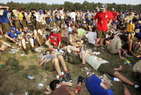 Image: Boy Scouts endure heat at Jamboree.