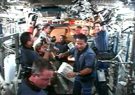 Image: Greeting on space station