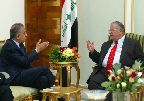 IMAGE: Talabani and Khalilzad