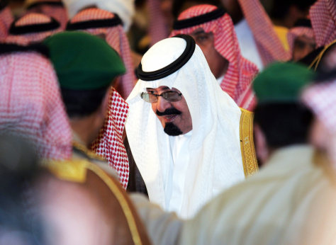 Saudi's King Abdullah arrives for the prayer at Imam Turki bin Abdullah mosque in Riyadh
