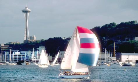 Spinnakered Boat Sailing on Lake Union