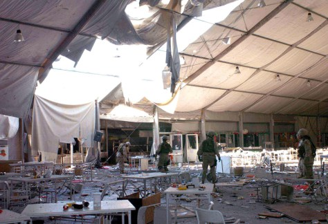 Mosul mess tent after explosion