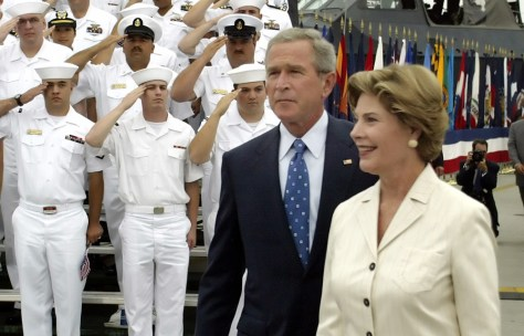 U.S. President Bush and first lady arrive for V-J Day speech in San Diego, California on Tuesday.