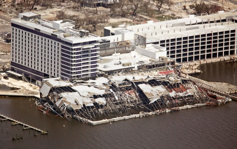 The Hard Rock hotel and casino is destroyed by Hurricane Katrina in Biloxi, Mississippi