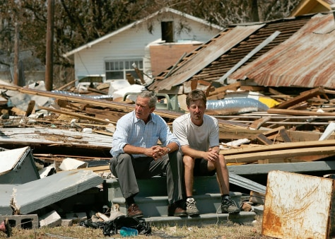 Bush talks with hurricane victim