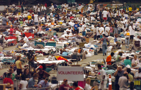 Image: Hurricane evacuees in Houston Astrodome