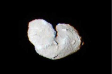 colorized image of the near-Earth asteroid Itokawa