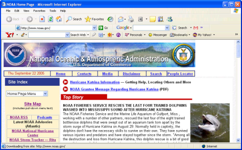 Image: National Oceanic and Atmospheric Administration home page