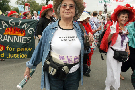 "The ""Raging Grannies"" march against the"