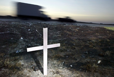 CROSS WHERE BUS BURNED