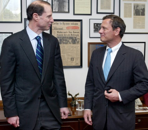 Senator Ron Wyden meets with Supreme Court nominee John Roberts on Capitol Hill