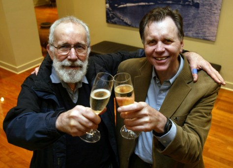 Nobel Prize for Medicine recipients, Australians Warren and Marshall toast their success with a champagne at Swan Berry Cafe in Perth