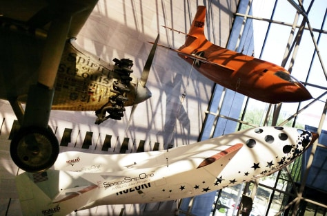 SpaceShipOne hangs at Smithsonian